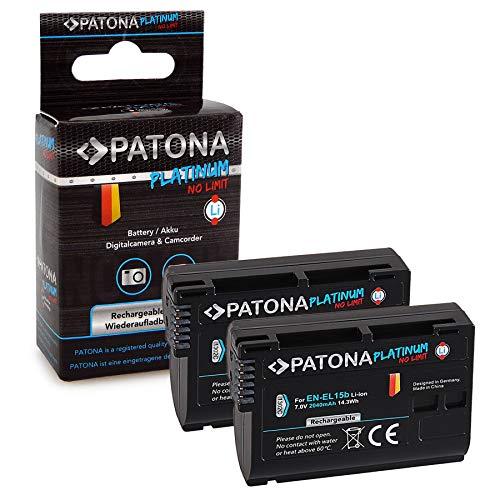 PATONA 2X Platinum Bateria EN-EL15b 2040mAh Compatible con Nikon D7000 D7100 D600 D800 D850, de Calidad Probada y fiable