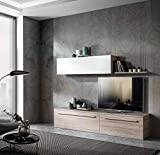 H inHouse srls Muebles de salón, color olmo y fresno blanco, dimensiones: 210 x 170 x 45 cm