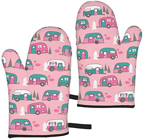 Flamingo Vintage Camper Oven Mitts Waterproof Non Slip Heat Resistant Kitchen Gloves for Baking product image