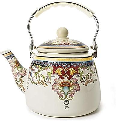 Enamel Teapot floral,Large Porcelain Enameled Teakettle,Colorful Hot Water Tea Kettle pot for Stovetop,Small Retro Classic Design (3.3L, style1)