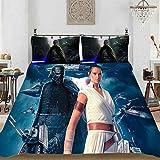 HLSM Juego de ropa de cama 3D Star Wars – Funda nórdica y dos fundas de almohada, 100% microfibra, impresión digital 3D, para niños y adultos (A07,135 x 200 cm)