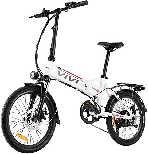 Vivi Folding Electric Bike, 20'' Electric Commuter Bike with 36V 8Ah Removable Lithium-ion Battery, 350W Motor and Professional 7 Speed Gear (White-20in)