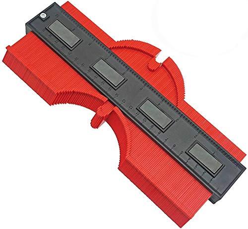 Jauge de contour en plastique 25cm jauge de profilé règle de mesure de mesure pour précision de mesure de carrelage, outil de marquage du bois stratifié (Rouge)