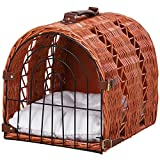 Pawhut Wicker Cat Carrier Basket Kitten Bed Portable Pet Caves Houses w/Soft Cushion 42 x 35 x 35 cm