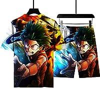 メンズサマーアニメフロントラウンドネックTシャツとショーツの上下、両面に3Dプリント、コミック愛好家に最適、速乾性、通気性(s-6xl) 13-M