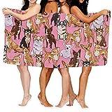 Lsjuee Toalla de Playa Chihuahuas Dog Pink Toalla de Playa Microfibra Súper Absorbente Personalidad Toalla de baño Secado rápido Manta de Playa Toallas 130 x 80 cm 23Z