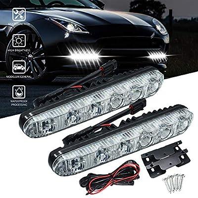 Universal Daytime Running Lights 6 LEDs High/Low Beam LED DRL Kit Waterproof 6000K Spot Fog Lamp Fit for Car SUV TRUCK. Xenon White.2-Pack.