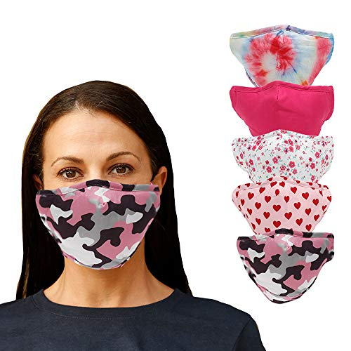 LifeToGo Teen/Adult Medium Face Mask - Pack of 5 Breathable, Comfortable, Multicolored Washable Cloth Face Mask - 3-Ply Reusable Non-Surgical Safety Mask. for Teens, Young Adults, and Adult Medium.