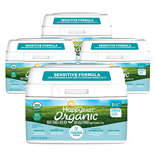 Happy Baby Organics Infant Formula, Milk Based Powder Sensitive Stage 1, 21 Ounce (Pack of 4) packaging may vary