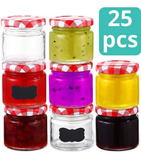 Praknu 25 Marmeladengläser 125 ml mit Deckel, Etiketten - Luftdichte Einmachgläser zum Einkochen & Konservieren