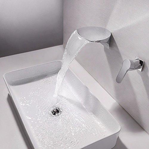WasserhahnTap Tout en cuivre dissimulé dans Le Mur Sortie de Cascade Lumineuse LED Chaude et Froide Valve en céramique d'eau Double Trou poignée Unique Salle de Bain à la Main lavabo Robinet commun