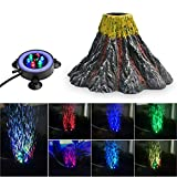 NICREW Volcan Aquarium Kit de Décoration, Lampe Bulle avec LED...