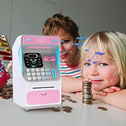 Alcancía electrónica, cajero automático simulado, alcancía electrónica, juguete, moneda, juguete para niños, para niños, juguetes para bebés, cajas de monedas seguras, caja de ahorro de dinero, bloque