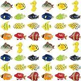 Boao Conjunto de 48 Piezas de Figuras de Peces Tropicales, Favores de Fiesta de Peces Tropicales, Juguetes de Peces de Plástico Variados para Niños, 1,5 Pulgadas de Largo