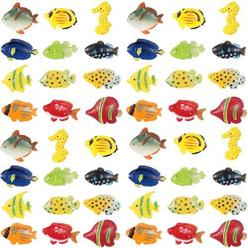 Boao Conjunto de 48 Piezas de Figuras de Peces Tropicales, Favores de Fiesta de Peces Tropicales, Juguetes de Peces de Plástico Variados para Niños, 1 Pulgada de Largo