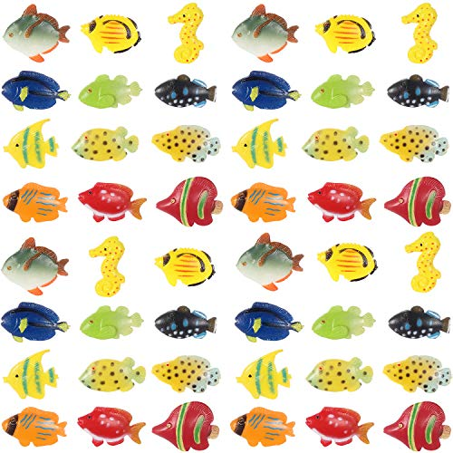 48 Pieces Tropical Fish Figure Play Set, Tropical Fish Party Favors, Assorted Plastic Fish Toys, Sea Animals Toys for Kids,1.5 Inch Long