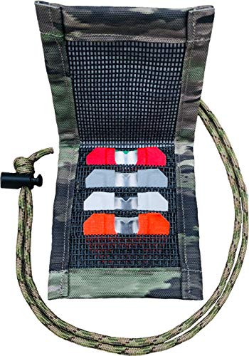 Reed Quiver Express, holds 4 Elk or Turkey diaphragm reed calls. Magnetic front cover, use with adjustable neck lanyard or attach to webbing on your backpack or Bino case with our Velco system.