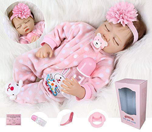 ZIYIUI 22 Pulgadas 55cm Reborn Bebé Muñecas Suave Vinilo de Silicona Renacer Lifelike Recién Nacido Magnética Boca Niño Niña Regalo Juguete Muñecos Bebé para niños Mayores de 3 años