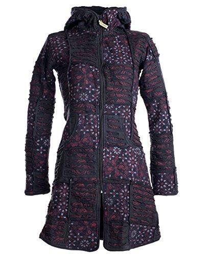 Vishes - Alternative Bekleidung - Warmer Elfen Patchworkmantel aus Baumwolle mit Fleecefutter und Kapuze schwarz 44
