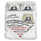 Ropa de cama Panda To My Daughter Sábanas Kits Ropa Ropa de cama Estilo Europeo Color Negro Cama Doble Blanco 175x218cm