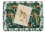 dabelino® veganes Geschenkpapier Set'Leopard/tropical': 4x Bögen + 1x Grußkarte (tropisch, leo print, leopardenmuster, Recyclingpapier, Blauer Engel, vegan Geschenk, Veganer, öko)