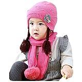 Amuse-MIUMIU - Juego de 2 Gorros térmicos de Invierno para niños pequeños Rosa Hot Pink Talla única