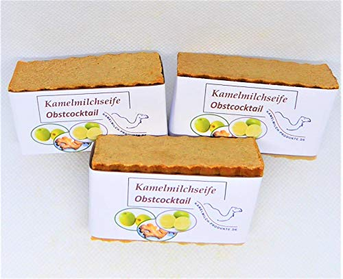 Handgemachte Kamelmilchseife, Naturseife, Obstcocktail, im Dreierpack, Seife