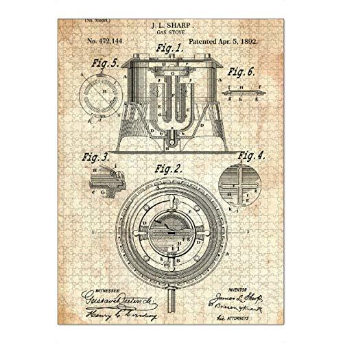 artboxONE Ravensburger-Puzzle XXL (1500 Teile) Essen & Trinken Gasherd Patent (Antik) - Puzzle gasherd küche Kochen