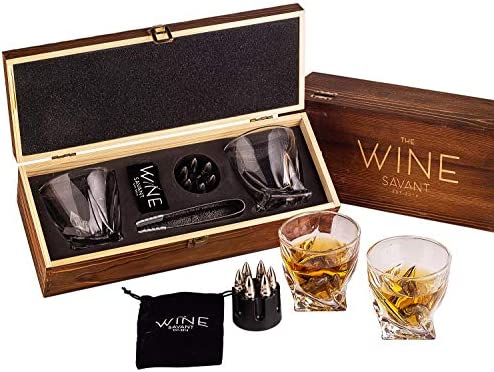 Whiskey Stones Bullets Gift Set for Men By The Wine Savant 6 Stainless Steel Whiskey Stones product image