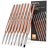 Nicpro 8 PCS Fine Detail Paint Brush Set,Professional Artist Miniature Brushes Liner Paintbrush for Watercolor...