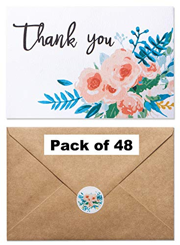 【48 Pack】 Thank You Cards - Flower Thank You Cards- Fancy Watercolor Floral Thank You Cards Printed On Texture Paper -Include 48 Matching Floral Stickers & 48 Thick Kraft Envelopes- 4 x 6 Inches