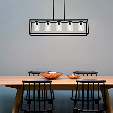 XILICON Dining Room Lighting Fixture Hanging Farmhouse Black 5 Light Modern Pendant Lighting Contemporary Chandeliers with Gl