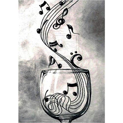 qiuxiaoaa Nota Musical DIY 5D Taladro Completo Diamante Pintura Bordado Kit de Punto de Cruz Rhinestone Decoración para el hogar Artesanía Cubo de Rubik Diamante 5D Bordado