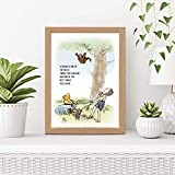 CUSTOMISED Cute Winnie The Pooh Friendship Art Print | Sweet, Charming Design | A3, A4 and A5 Wood Effect Frames Available Made in UK