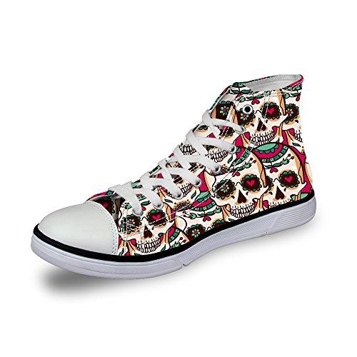 "AXGM - Zapatillas de lona para mujer, diseño de calavera con texto ""Lächeln"", color, talla 36 EU"