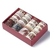 Comius Sharp 20 Rolls Cinta Adhesiva Decorativa Colección de Flores para DIY Artes y Artesanías, Decoración de La Habitación, Tarjetas, Scrapbook (Rojo)