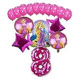 JSJJAEA Globos del Partido 16pcs Figura de Dibujos Animados Cenicienta Globos Blanco Nieve Princesa 32 Pulgadas Números Globos Conjunto Fiesta de cumpleaños Decoraciones decoración (Color : 18)