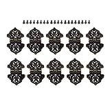 ZXCVB 10 Uds 53 * 28mm Caja de Madera para joyería cajón Armario bisagra Decorativa Puerta Armario Muebles bisagras Bronce Antiguo/Oro (Color : A)