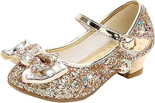 Walofou Kids Girl Princess Shoes Wedding Gold Sequins Little Flower Girls Mary Jane Glitter Shoes Size 10 Cheap Cute Toddler Girls High Heels Shoes Cosplay Dress up Bridesmaid ( 28-05 Gold 10