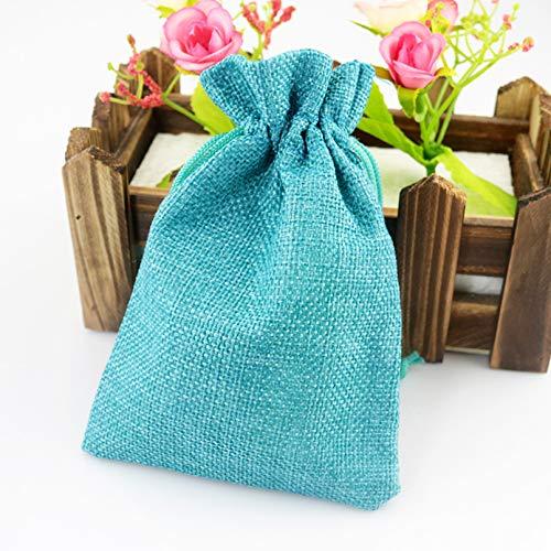 JJZS Caja de 100 bolsas de arpillera de varios colores para regalo de caramelos, pendientes, broches, joyas, bolsas de regalo de boda, 10 x 14 cm