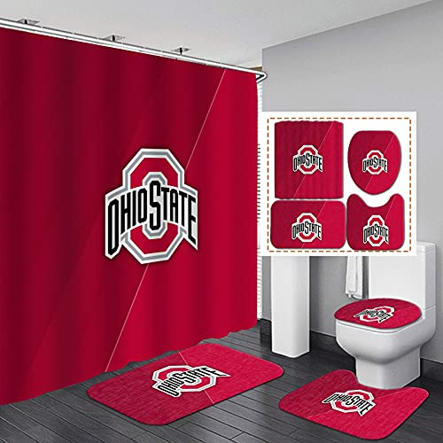 4 Pcs Ohio State Shower Curtains Sets with Non-Slip Rugs, Toilet Lid Cover and Bath Mat, Bathroom Sets with Buckeye Shower Curtain and Rugs and Accessories 72 x 72 Inch