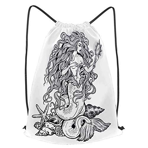 Impermeable Bolsa de Cuerdas Saco de Gimnasio Hermosa chica sirena con espejo...
