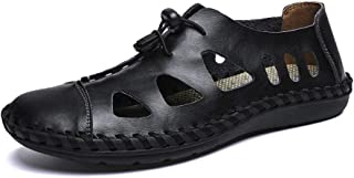 Sumuzhe Stylish and comfortable Men's Fashion Sandal Casual OX Leather With Breathable Holes Closed Head Lacing up Decoration Big Size Leisure Shoes Summer must (Color : Black, Size : 47 EU)