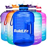 BuildLife Gallon Motivational Water Bottle with Time Marked to Drink More Daily - BPA Free Reusable Gym Sports Outdoor Large 128oz Capacity(Blue, 1 Gallon)