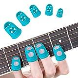 30Pcs Guitarra Protector Dedos, BoloShine Protectores de Punta Dedo de Guitarra Silicona, Tapas Cubiertas de Punta Dedo para Guitarra Eléctrica Acustica Clásica Bajo Ukulele (Azul)