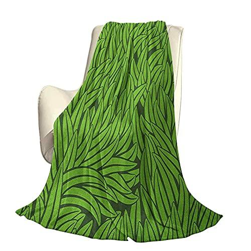 Verde Manta de Cama de Lujo de Microfibra súper Suave y cómoda Estilo Dibujado a Mano Patrón de Hierba Resumen Crecimiento Ambiental simplista Manta antiestática Liviana de Gama Alta Eco W80