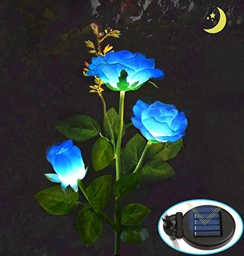 MMTX Beleuchtung Außen Solarleuchte Garten, IP65 Wasserdicht Solar Garten Lampen mit LED Rose Lichter und Solarpanel, Dekoration Lichter für den Garten Rasen Terrasse Feld Weg(Blau)