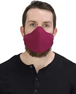 Masker-AID: USA Made 100% Cotton 3 Layer Reusable, Reversible, Breathable, Unisex Adult Face Mask (Over Ear S/M, Burgundy)