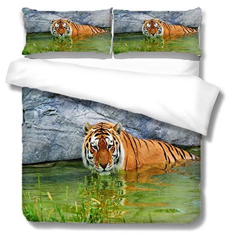 Bettbezug Set,Home Textile 3D Tiger Print Bettwäscheset Weiche, Bequeme Bettbezug Leichte, Atmungsaktive, Versteckte Reißverschlüsse Single Double King Super King, Double (200X200Cm)