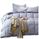 KASENTEX All Season Down Alternative Quilted Comforter Set Reversible Ultra Soft Duvet Insert Hypoallergenic Machine Washable, Queen, Quartz Silver/Pebble Grey